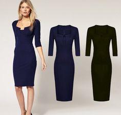 卸売新しいファッションヨーロッパのデザイン2014年四角い襟オフィスレディーのドレスの映画スターのドレスドレススリムにフィットしpatry熱い販売