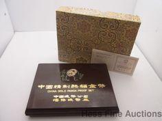 5pc 1986 China Gold Panda Proof Coin Set Chinese 1.9 ozt Bullion Boxed COA Pape
