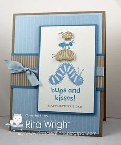 Bugs and Kisses set from Stampin' Up ~ Although the stamped greeting is for Father's Day, this would make a cute kid's card.