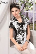 2015 summer sale 5xl plus size ladies office shirt black ethnic floral tops korean style women blouse cheap clothing china tunic(China (Mainland))