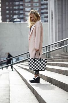 shoes, Michael bag and a pink jacket by Malene Birger - loving this black and white look with a pop of pink Fall Outfits, Fashion Outfits, Womens Fashion, Fashion Trends, Pink Wool Coat, Black White Pink, Office Fashion, Street Style Women, Spring Fashion