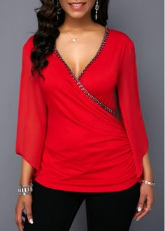 Plunging Neck Cutout Sleeve Embellished Neck T Shirt Women Clothes For Cheap, Collections, Styles Perfectly Fit You, Never Miss It! Trendy Tops For Women, Blouses For Women, Stylish Tops, Casual Skirt Outfits, Wrap Blouse, Blouse Online, Red Blouses, Blouse Styles, Ladies Dress Design
