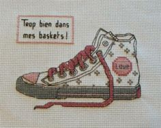 chaussures - shoe - basket - point de croix-cross stitch - broderie-embroidery- Blog : http://broderiemimie44.canalblog.com/