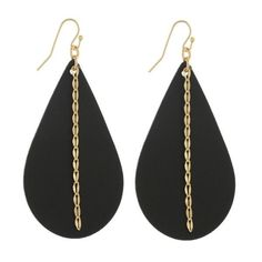 Long faux leather teardrop earring with chain detail. Paper Earrings, Wood Earrings, Black Earrings, Diy Earrings, Earrings Handmade, Handmade Jewelry, Diy Jewelry, Jewelry Ideas, Jewellery
