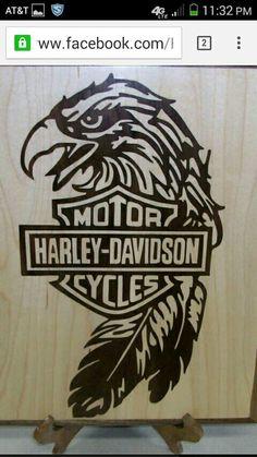 Harley Eagle inlay wood sign