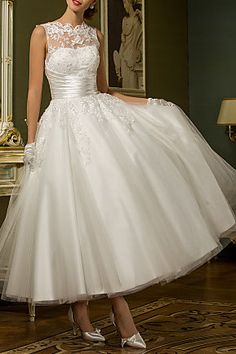 A-line Jewel Ankle-length Tulle Wedding Dress