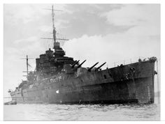 8 in heavy cruiser HMAS Australia after the Battle of the Coral Sea in 1942.  Of the British 'County' class, after early war service in the Atlantic she spent the majority of WW2 operating in the Pacific theatre with the US Navy, sustaining a kamikaze hit which killed her Captain in 1944.  She was scrapped in 1955.