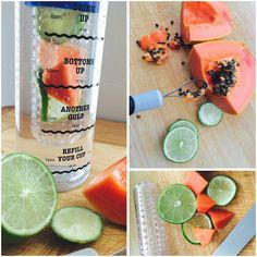 This Infusion Water Bottle with Drink Tracker has 2 of my favorites - exotic fruit (like papaya and lime) and fresh WATER.  Try this refreshing fruit infusion recipe and keep your body hydrated and happy.