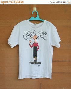 vintage 1993 Olive Oyl Popeye the Sailor Man double side print front & back tshirt large size made in usa by ArenaVintage