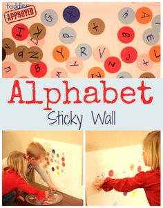 ALPHABET STICKY WALL: Punch out several cardstock circles using our circular punch. You can also cut your paper into any shape for this activity. My 4 year old was my punching helper.  Next we wrote all of the alphabet letters (upper and lowercase) on the circles with markers.  Then I placed the alphabet circles in front of our sticky wall and encouraged my toddler to start sticking the colorful circles onto the wall!