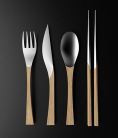 I like the material mix on the Natural Cutlery Set designed by Clara del Portillo. Food Storage Boxes, Kitchenware, Tableware, Stainless Steel Types, Cutlery Set, Flatware, 3d Prints, Food Design, Home Interior