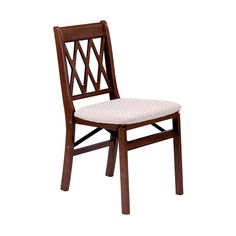 Wooden folding chair in cherry-lattice design. Order 20 for dining set. Store in cupboard under the stairs.