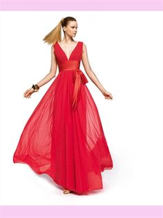 RED V-NECK CHIFFON PROM DRESS!!! LOVE THE COLOR!!! <3 :)