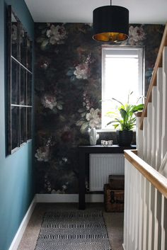 Hall and Stairs - The Final Reveal - moody paper, teal, metallics, black and white accessories Landing Decor, Industrial Bathroom Lighting, Purple Bedding Sets, Hallway Mirror, Industrial Chic Style, Hallway Inspiration, Stair Decor, Wall Decor, Ceiling Art