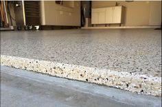 Epoxy garage floor coating. Full flake floor coating in this two car garage.