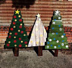 Woodland Christmas Decor: rustic Christmas trees by Meteora Art on Etsy