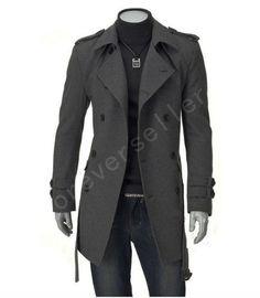 Mens Slim Fit Trench Coat Winter Long Jacket Tops Outerwear Overcoat Wind Coat | eBay