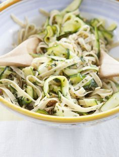 Fettuccini with Zucchini Ribbons & Walnuts by Buff Strickland | Camille Styles