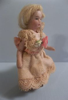 """Precious 2-1/2"""" SFBJ Antique All Bisque French Lilliputian Girl from theplayfulspirit on Ruby Lane"""