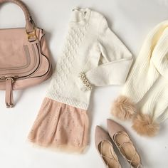 StylishPetite.com | Thanksgiving outfit, cabled ballerina pullover sweater, Chloe marcie small satchel, pom pom scarf, blush lace up flats, bobbled stretch pearl bracelet, winter whites
