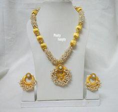 Silk thread set with loreals Silk Thread Necklace, Thread Jewellery, Fashion Jewellery, Jewellery Making, Gold Necklace, Diy Jewelry, Beaded Jewelry, Jenni, Hobbies And Crafts