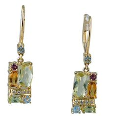 Multi Color Gemstone Earrings in 14 ky https://www.goldinart.com/shop/colored-gemstone-earrings/multi-color-gemstone-earrings-14-ky #Earrings, #Gemstone, #MultiColor