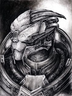 Charcoal drawing on approx inch high quality drawing paper. Garrus Vakarian, the Normandys turian crew member. This is an original charcoal drawing. Mass Effect Garrus, Mass Effect 1, Mass Effect Tattoo, Mass Effect Cosplay, Mass Effect Characters, Charcoal Portraits, Charcoal Drawings, Art Journal Tutorial, Black And White Sketches