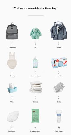Packing a diaper bag can get overwhelming especially on your last minute dash to the hospital. Here's a list of all the things that you will in changing bag: diaper sacks, baby wipes, rash cream, burp cloths. Diaper Bag Checklist, Diaper Bag Essentials, Newborn Essentials, Diaper Bag Backpack, Diaper Bags, Baby Changing Bags, Minimalist Baby, Diy Bebe, Hospital Bag