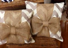 Khaki chevron pillow with burlap bow. Putting ugly on ugly. And how scratchy these would be! Nasty!