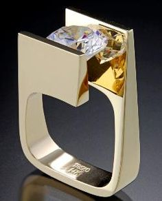 Ring - Trisko Jewelry Sculptures, Ltd. - 14kt yellow gold, cubic zircoinia