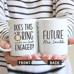 Does This Ring Make Me Look Engaged Mug, Engagement Gift, Engagement Mug, Proposal Gift, Bride To Be Mug, Future Mrs Mug, Future Engagement Engagement Mugs, Engagement Gifts For Couples, Text Color, Couple Gifts, Color Change, Proposal, Stuff To Do, This Or That Questions, Bride