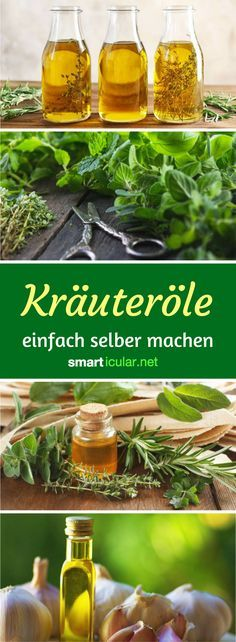 Make rich herbal oils yourself - tips and recipes - Gehaltvolle Kräuteröle selber machen – Tipps und Rezepte With rich herbal oils, you can conserve seasonings and wild herbs very easy and versatile. That& how easy you can make the spicy oils yourself! Belleza Diy, Mozarella, Herbal Oil, Diy Food, Food Inspiration, Cooking Tips, Herbalism, Vegan Recipes, Clean Eating