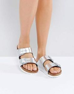 def32a2fb098 Birkenstock Arizona Metallic Silver Leather Flat Sandals  shopstyle Leather  Sandals Flat