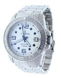 Le Chateau 7083-MSSMET-WHT Men's Automatic White Dial Stainless Steel Watch