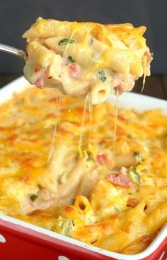 Chicken, bacon, and pasta mix with ranch dressing and a spicy pepper jack cheese to create a delicious dinner that everyone will enjoy.