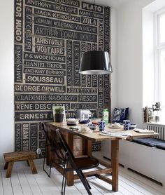 Bookish Kitchen - Love this wall in a breakfast nook area. I would absolutely do this, if only I had the perfect wall...hmmm...