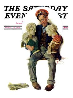 """Delivering Two Busts"" Saturday Evening Post Cover, April 18,1931  Norman Rockwell"