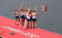 Team USA celebrate winning the gold medal at the victory ceremony after the women's eight finals rowing event during the London 2012 Olympic Games at Eton Dorney