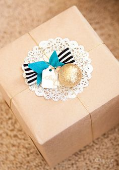 brown paper doily stripe and ornament