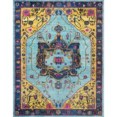The Calliope Blue Pattern Area Rug 8 x 11