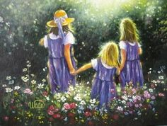 Three Sisters Print - Vickie Wade art, Forever Friends, three friends, three sisters, green, purple, flowers
