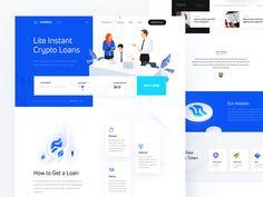 Lite Loans designed by Aleksandr Levchenko. Connect with them on Dribbble; Website Design Inspiration, Blockchain, Layout, Template Web, Templates, Design Responsive, Design Innovation, Page Web, Flat Web
