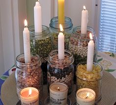 I love candles! Save you GLASS JARS....They make beautiful and unique candle holders. Again use items from around your home. BIG PICKLE JARS ARE THE BEST!