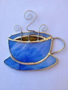 Stained Glass Ornament - Coffee Mug. $7.50, via Etsy.