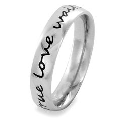 50% Off was $19.95, now is $9.95! Elya Designs Stainless Steel True Love Waits Script Ring (4.5 mm) - Sizes 4-10 + Free Shipping