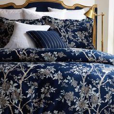Ralph Lauren DEAUVILLE Blossom Full Queen comforter Navy Blue ...