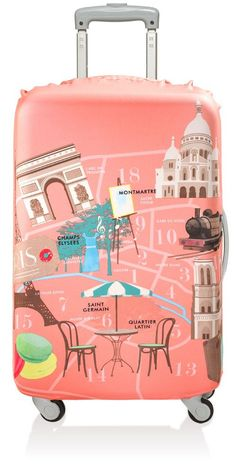 Take a stroll down the Seine or eat a croissant at a sidewalk cafe while on a plane headed to Thailand. The Loqi Water Resistant Luggage Cover URBAN Paris features a polyester and spandex combination