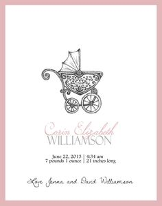 Birth Announcement Stroller Carriage Baby by PTWatersDesigns, $18.00