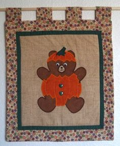 Quilted Wall Hanging  Halloween Pumpkin Bear by PatsysPatchwork, $18.00