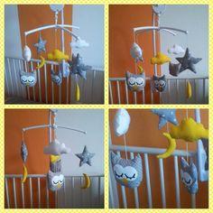 Mobile musical chouette nuage lune étoile gris jaune